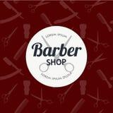 Barber Shop- oder Friseurhintergrund stellte mit Frisurnscheren, Rasierpinsel, Rasiermesser, Kamm für Mannsalonvektor ein Stockbild