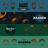 Barber Shop- oder Friseurhintergrund stellte mit Frisurnscheren, Rasierpinsel, Rasiermesser, Kamm für Mannsalonvektor ein Stockfotografie