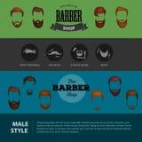 Barber Shop- oder Friseurhintergrund stellte mit Frisurnscheren, Rasierpinsel, Rasiermesser, Kamm für Mannsalonvektor ein Stockfotos