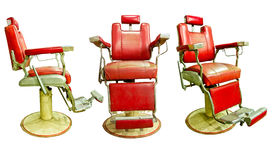 Barber Shop with Old Fashioned Chrome chair. With white background Stock Images
