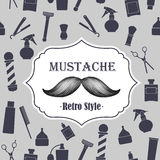 Barber shop old fashioned mustache emblem on seaml Royalty Free Stock Photography