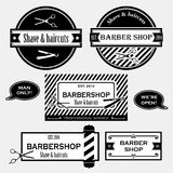 Barber shop old fashioned signs vector collection Stock Photo