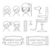 Barber Shop Outline Icons Set, bannière, accessoires, les gens Photo libre de droits