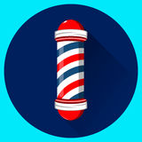 Barber shop pole with red, blue and white stripes. Stock Images