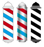 Barber shop pole. Three barber shop pole icons Stock Photography