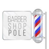 Barber Shop Pole Vector 3D classique Barber Shop Pole Rayures rouges, bleues, blanches D'isolement sur l'illustration blanche Photo libre de droits