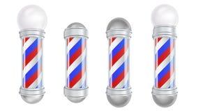 Barber Shop Pole Vector 3D klassiker Barber Shop Pole Set Goda för designen, brännmärka som annonserar isolerat Royaltyfria Bilder