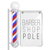 Barber Shop Pole Vector. Good For Design, Branding, Advertising. Space For Your Advertising. Isolated On White. Barber Shop Pole Vector. 3D Classic Barber Shop Stock Photo