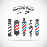 Barber shop pole. Vector illustration barber shop vintage pole collection on white background stock illustration