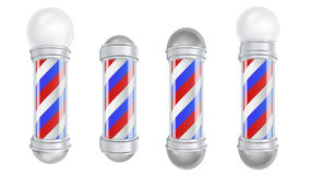 Barber Shop Pole Vetora 3D clássico Barber Shop Pole Set Bom para o projeto, marcagem com ferro quente, anunciando Isolado ilustração stock