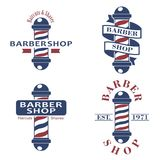 Barber shop poles set. Hairdressing saloon icons isolated on white background. Barbershop sign and symbol. Design. Elements collection for logo, labels, emblems vector illustration