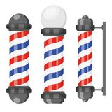 Barber shop poles with stripes isolated on white background. Barbershop sign, hairdresser symbol in flat style. Vector illustration vector illustration