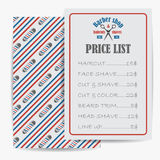 Barber shop price or brochure list with prices at the hairstyles and haircuts stock illustration