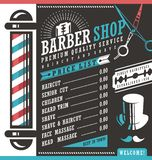Barber Shop price list template. Haircut and shave retro barber sign on dark background. Gentlemen hair styles promotional banner graphic. Barber salon stock illustration
