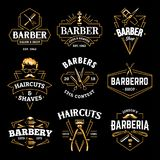 Barber Shop Vector Retro Emblems. Barber Shop Retro Emblems in art deco style. Set of stylish barber logo templates. Gold color vector art isolated on black stock illustration