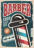 Barber Shop. Retro poster design template on blue background vector illustration