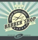 Barber shop retro poster design template stock illustration