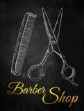 Barber shop Scissors comb. Digital art Stock Photos