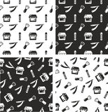 Barber Shop Seamless Pattern Set Fotografia Stock Libera da Diritti