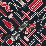 Barber shop seamless pattern with thin line icons royalty free illustration