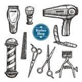 Barber Shop Set Doodle Sketch Icons Stock Image