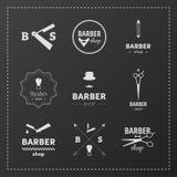 Barber Shop Set. Set of Barber Shop Logo On Dark Gray Background Stock Photos