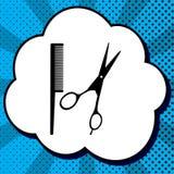Barber Shop Sign Vecteur Icône noire dans la bulle sur le bruit-art bleu b illustration libre de droits