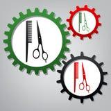 Barber Shop Sign Vecteur Trois vitesses reliées avec des icônes au GR illustration stock