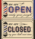Barber shop signs(openclosed) Royalty Free Stock Photo