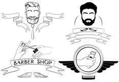 Barber Shop, silhouettes de vecteur et icônes réglées Illustration Libre de Droits