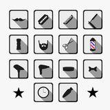 Barber shop tools and haircut icons set Stock Images
