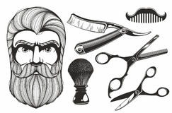 Barber shop tools. Set of vintage barber shop elements royalty free illustration