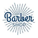 Barber Shop Typographic Hipster Badge /Label Con i raggi luminosi illustrazione vettoriale