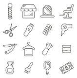 Barber Shop- u. Barber Equipment Icons Thin Line-Vektor-Illustrations-Satz Stockfotografie