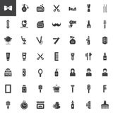 Barber shop vector icons set. Modern solid symbol collection, filled pictogram pack. Signs, logo illustration. Set includes icons as brush, hair pin, comb Stock Images