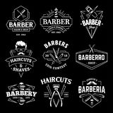 Barber Shop Vector Retro Emblems illustration de vecteur