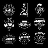 Barber Shop Vector Retro Emblems. Barber Shop Retro Emblems in art deco style. Set of stylish barber logo templates. White monochrome vector art isolated on vector illustration