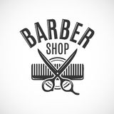 Barber shop vector vintage logo, label, badge or emblem design. on white. Background royalty free illustration