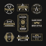 Barber shop vintage isolated label set. Vector illustration. Hairdresser and gentleman symbols. Beard club logo. Best style only for man concept. Mans shop Royalty Free Stock Images