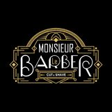Barber shop vintage logo with linear frame. Barbershop logo in french. Vector illustration. Monsieur le barber label for barbershop in french. Vector design vector illustration