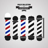 Barber shop vintage pole icons set. Vector Barber shop vintage pole icons set Stock Photo