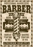Barber shop vintage poster with pole and blade. Vector illustration. Layered, separate grunge texture and text Royalty Free Stock Image