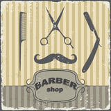 Barber shop vintage retro template. Vector Stock Photo