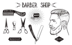 Barber shop vintage set. Stock Images
