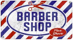 Barber Shop Vintage Tin Sign. Barber Shop Antique Tin Sign Enamel Retro Vintage Free Shave Scissors Red White Blue Embossed Old Rustic Grunge Hair Cut royalty free illustration