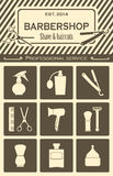 Barber shop vintage tools icons set Stock Images