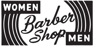 Barber Shop Women Men royalty free stock photography