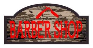 Barber Shop Wooden Store Sign gastada stock de ilustración