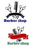 Barber Shop-Zeichen mit leeren Fahnen Stockbild