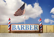 Barber sign and pole. Photo of barber sign and pole  with American flag Royalty Free Stock Photos